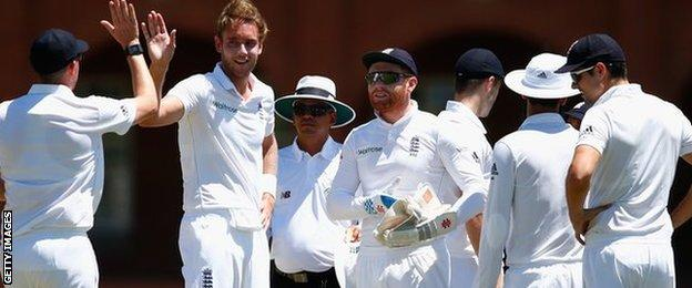 England celebrate another Stuart Broad wicket in South Africa
