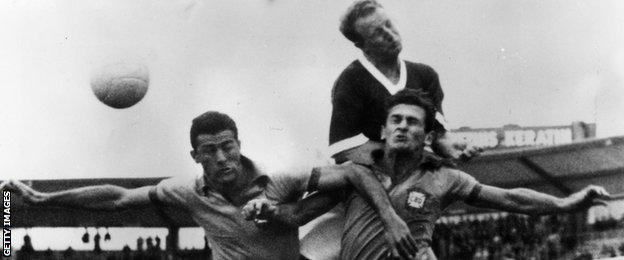 Ivor Allchurch against Brazil in the 1958 World Cup