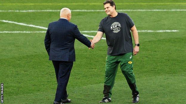 Rassie Erasmus and Warren Gatland shake hands