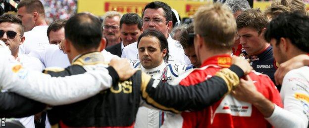 Felipe Massa takes part on the minute's silence for Jules Bianchi
