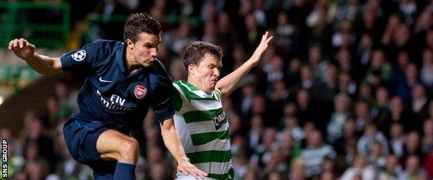 Robin van Persie played at Celtic Park for Arsenal in 2009