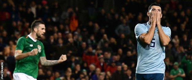 Northern Ireland's Jordan Jones was denied by Republic keeper Darren Randolph
