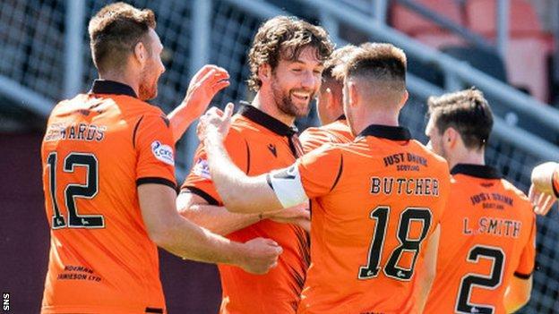 Dundee United's Charlie Mulgrew celebrates scoring