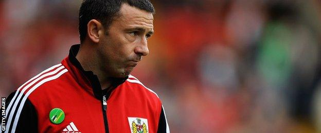 Derek McInnes on the sidelines during his time with Bristol City