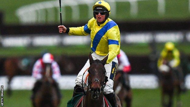Jamie Codd on Ravenhill celebrates winning the National Hunt Chase in 2020