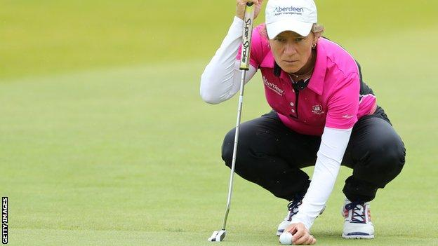 Catriona Matthew at the Women's British Open at Kingsbarns Golf Links