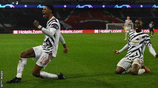 UCL Report (2020): Late Rashford goal earns Man Utd win at PSG