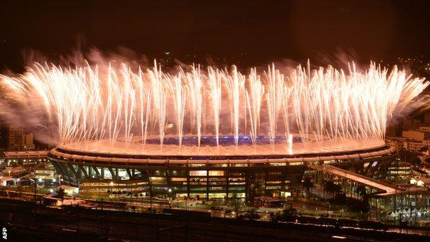 fireworks over the Maracana