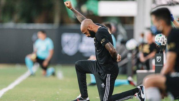 Thierry Henry: Montreal Impact boss takes a knee at start of MLS game