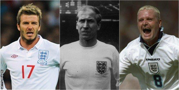 David Beckham, Bobby Charlton, Paul Gascoigne