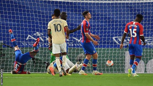 Anthony Martial scores Manchester United's second goal against Crystal Palace