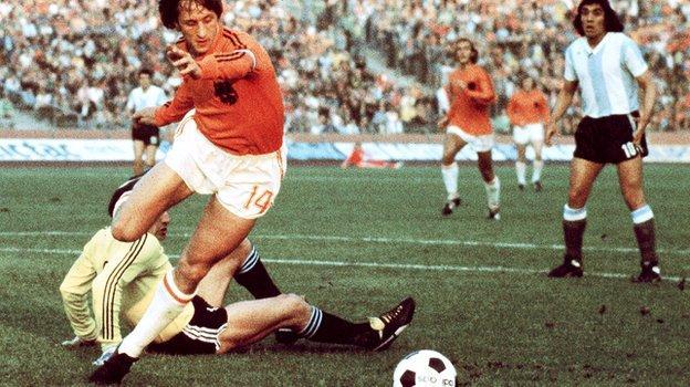 Johan Cruyff playing in the 1974 World Cup