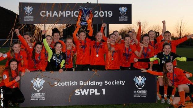 Glasgow City celebrate winning the 2019 SWPL title