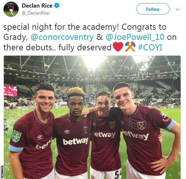 Declan Rice tweet
