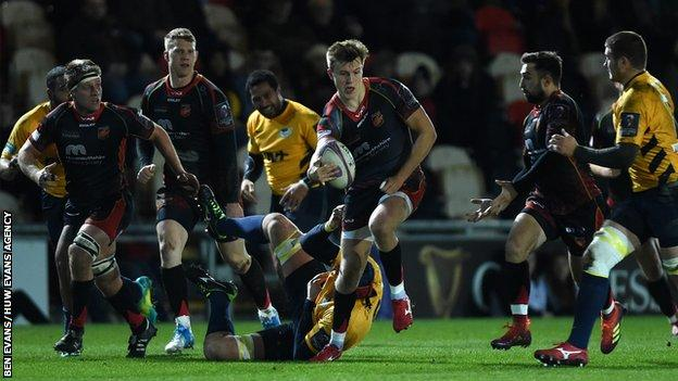 Will Talbot-Davies impressed off the wing for Dragons with a brace of tries