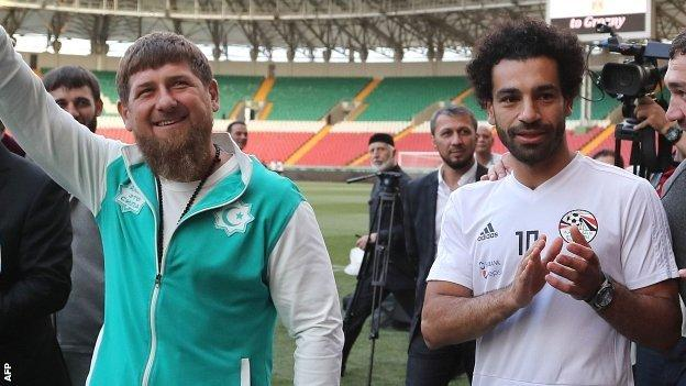 Egypt forward Mohamed Salah is pictured with Chechnyan leader Ramzan Kadyrov