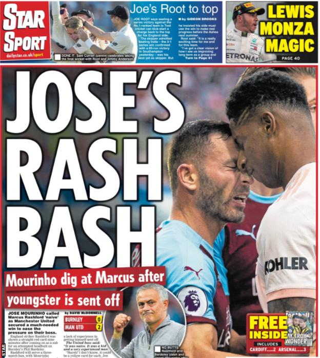 The Star leads with Mourinho being frustrated with Rashford's actions