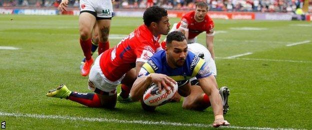 Ryan Atkins' second-minute try got Wire off to a great start at Headingley - but they were pegged back