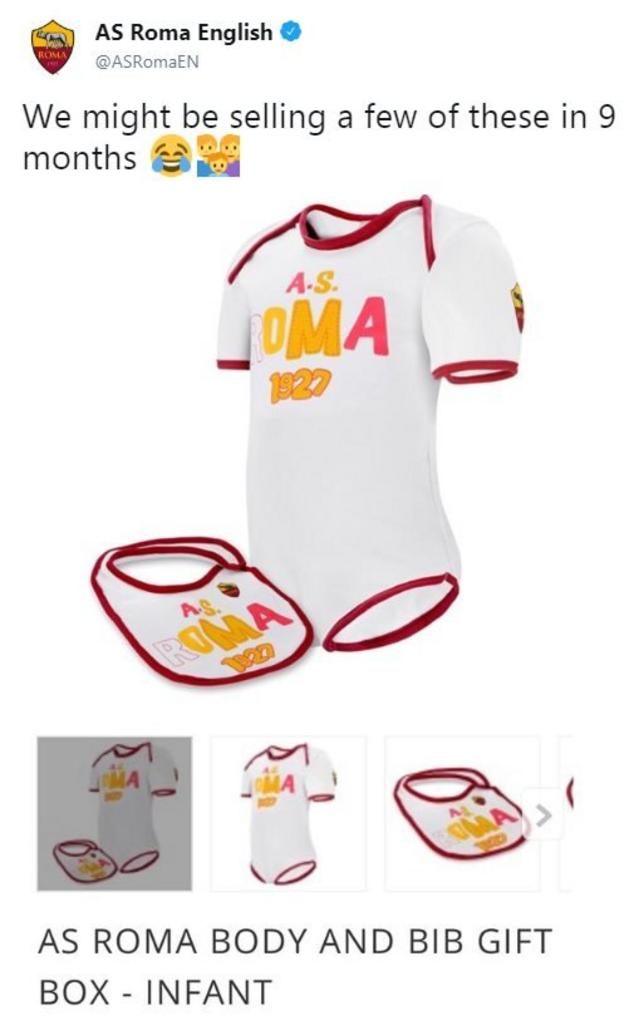Roma's twitter account celebrates their comeback against Barcelona with a joke about selling Roma baby-grows nine months after their victory