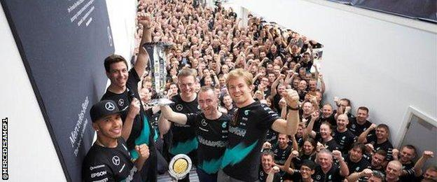 Mercedes celebrate their F1 constructors' title