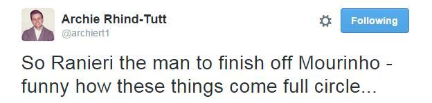 Archie Rhind-Tutt Tweet