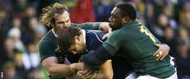 South Africa prop Jannie du Plessis playing against Scotland in 2010