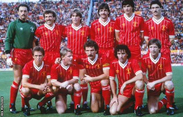 The Liverpool team at Stadio Olimpico before the 1984 European Cup final