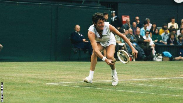 Court, pictured at Wimbledon in 1973