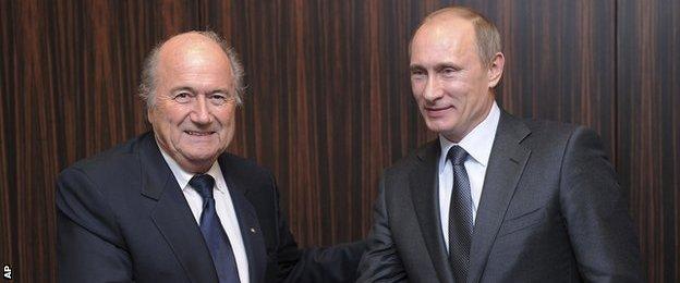 Fifa president Sepp Blatter (left) and Russia president Vladimir Putin