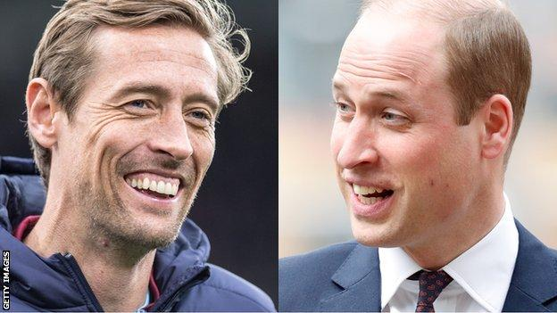 Split screen of Peter Crouch and Prince William
