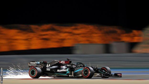 Lewis Hamilton drives around the Bahrain International Circuit