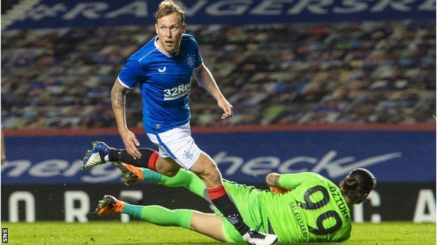 Scott Arfield scored his first Europa League goal at Ibrox to put Rangers in front