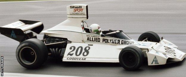 Italy's Lella Lombardi, pictured here in the Brabham BT42 in 1974, made 12 starts but scored just 0.5 points