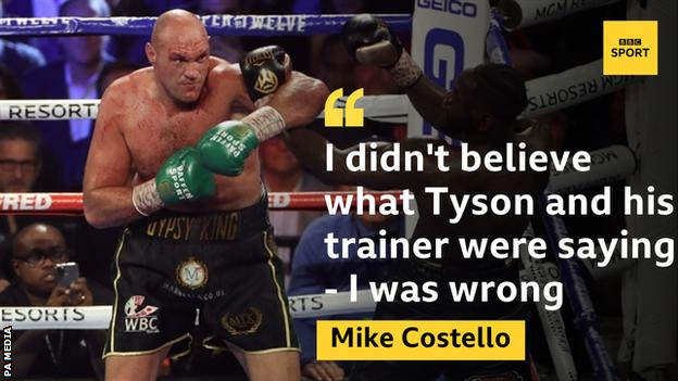 Tyson Fury picture with a Mike Costello quote