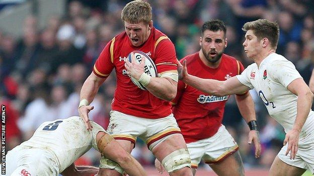 Bradley Davies in action for Wales against England
