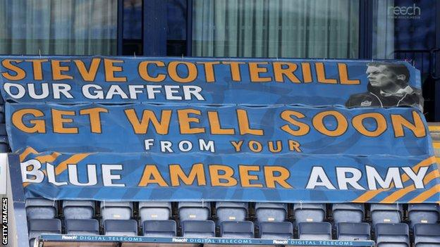 Shrewsbury fans displayed this banner in May to manager Steve Cotterill