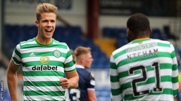 New Brentford signing Kristoffer Ajer celebrates scoring a goal for previous side Celtic