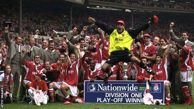 Charlton celebrate their promotion to the Premier League