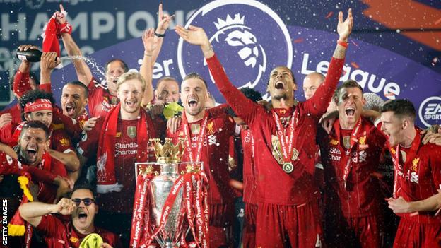 Liverpool celebrate winning the Premier League