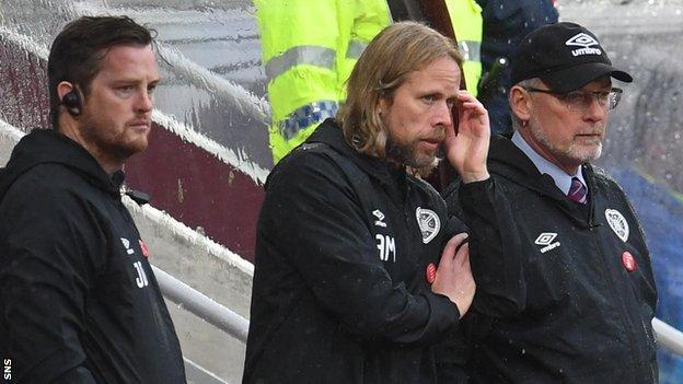 Hearts coach Jon Daly, caretaker Austin MacPhee and former manager Craig Levein