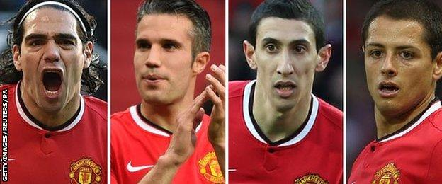 Former manchester United players Radamel Falcao, Robin van Persie, Angel di Maria and Javier Hernandez