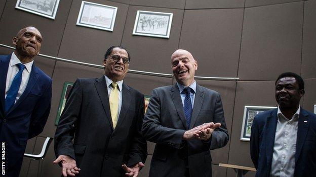 Fifa President Gianni Infantino visited Safa headquarters on Tuesday