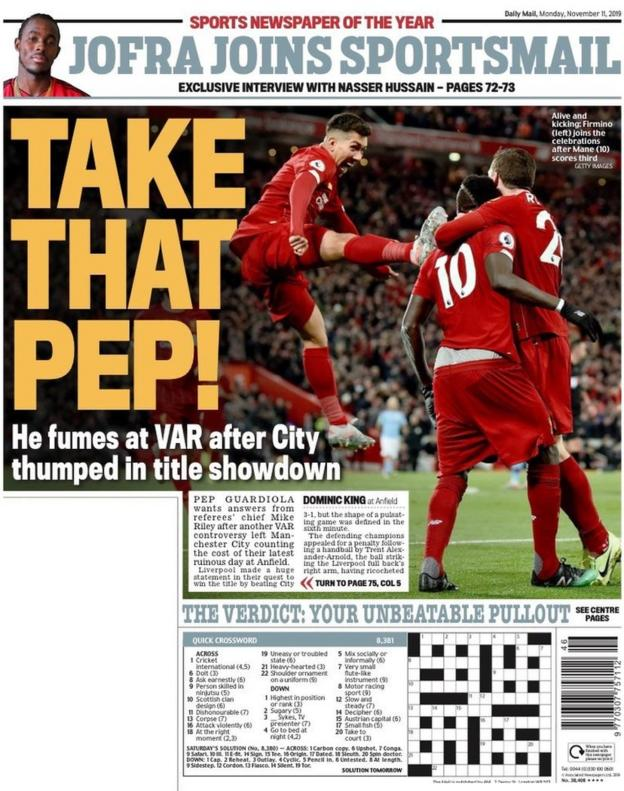 The back page of the Daily Mail