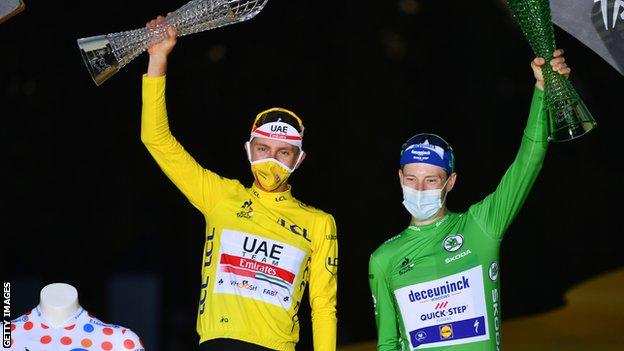 Tadej Pogacar (left) and Sam Bennett (right) celebrate winning the yellow and green jerseys respectively on the podium after the 2020 Tour de France