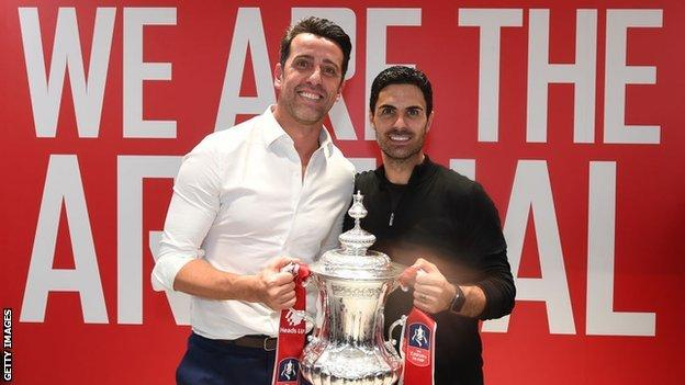 Edu with Mikel Arteta after Arsenal's FA Cup win in August