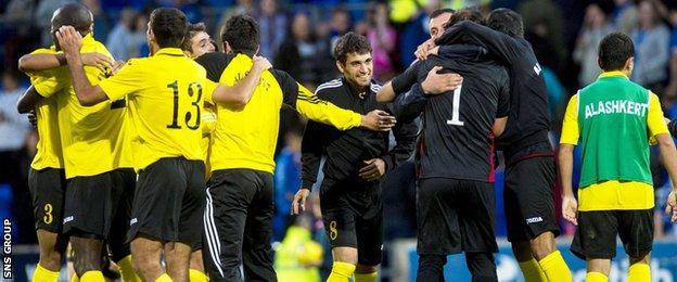 Alashkert celebrate victory in their first ever European tie