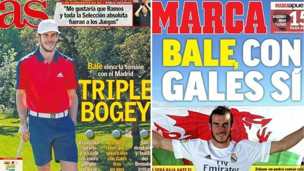 Back pages on Gareth Bale