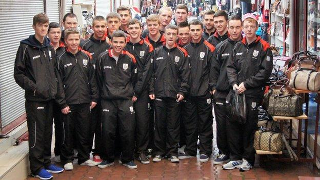 The Queen's Park Under-18 squad on tour in Turkey in January 2012