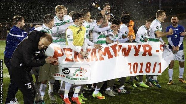 New Saints celebrate winning the Welsh Premier title