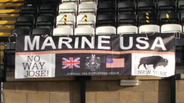 A flag at non-league Marine's ground in Crosby